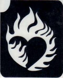 Glitter Tattoo HEART FLAME brandende liefde hart