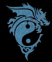 Glitter Tattoo DRAGON YING YANG draak
