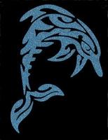 Glitter Tattoo DOLPHIN TRIBAL LARGE dolfijn