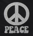 Strijkapplicatie glitterfolie peace