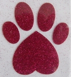 Strijkapplicatie glitterfolie dog paw pootafdruk