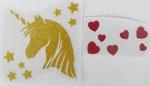 Strijkapplicatie unicorn head stars hearts