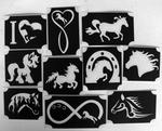 Glitter Tattoo HORSES  1 set van 10 sjablonen