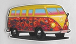 Strijkapplicatie hippie van flower power busje