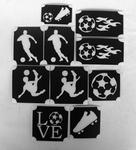 Glitter Tattoo SOCCER  1 voetbal set van 11 sjablonen