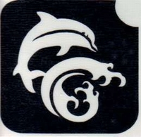 Glitter Tattoo DOLPHIN WAVE dolfijn golf